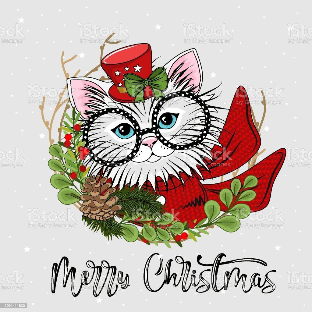 Frohe Weihnachten Katze.Süße Festliche Katze Mit Der Aufschrift Frohe Weihnachten Vektorillustration Stock Vektor Art Und Mehr Bilder Von Blau