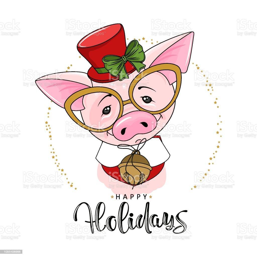 かわいいお祭り豚碑文幸せな休日ベクトルの図 - お祝いのベクターアート