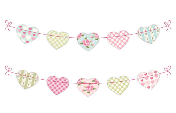 Cute festive retro bunting flags with different hearts Cute festive retro bunting flags with different hearts ideal for Valentines day or as wedding decoration shabby chic stock illustrations