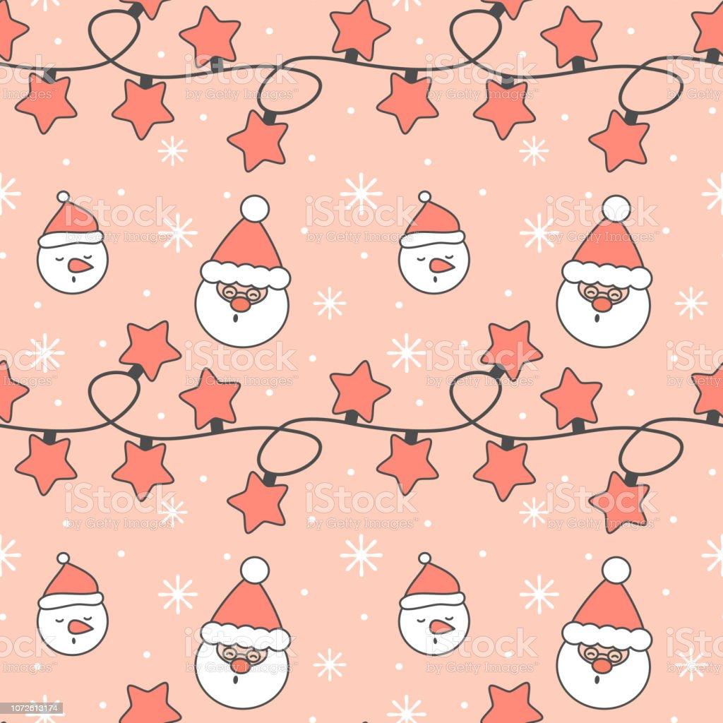 cute festive seamless vector pattern background illustration with christmas lights garland, snowflakes, santa claus and snowman vector art illustration