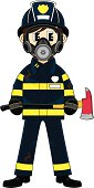 Vector Illustration of an adorably cute Fireman - Firefighter Character carrying an Axe and wearing a Respirator.