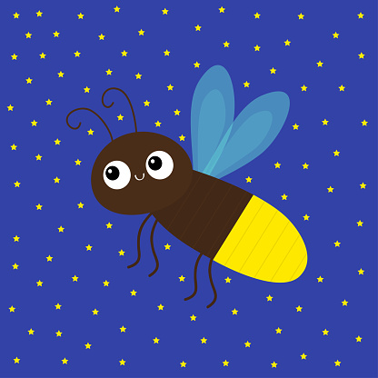 Cute firefly beetle bug. Insect animal. Cartoon kawaii funny smiling baby character. Brown color. Shining yellow light bulb. Education cards for kids. Blue sky star background. Flat design.