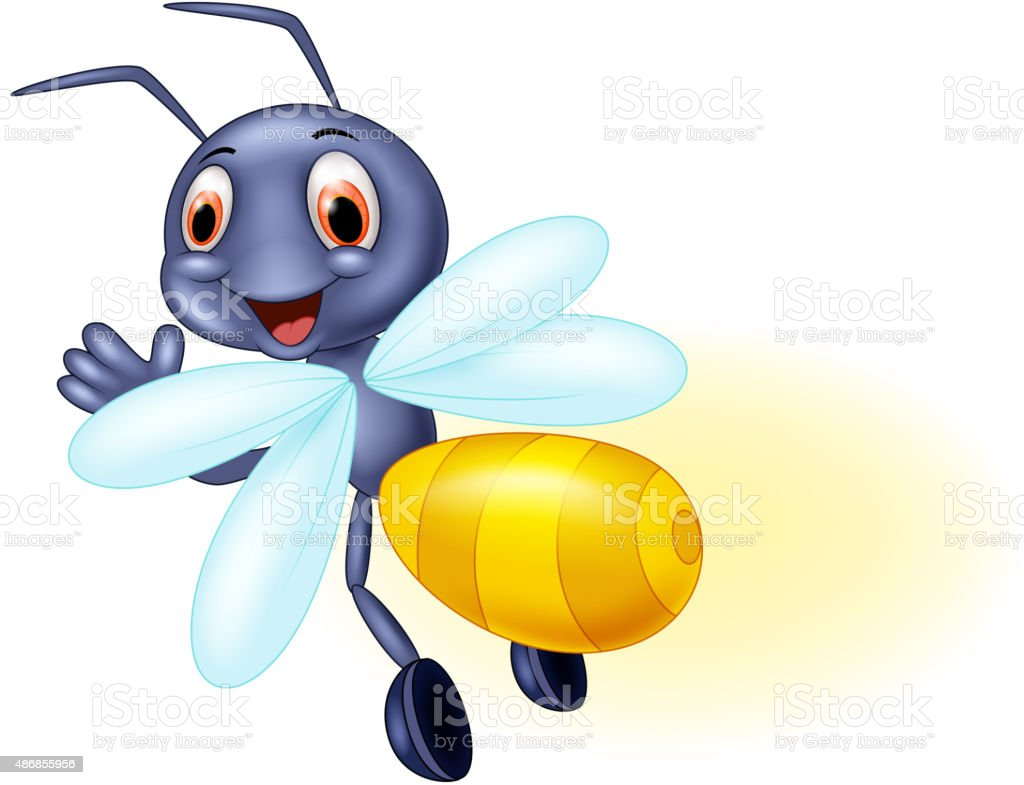 Cute firefly cartoon waving vector art illustration