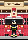 Vector Illustration of an adorably cute Fireman character with his Fire Engine at the station house.