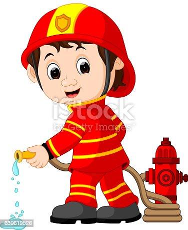 Cute Fireman Cartoon stock vector art 639619526 | iStock