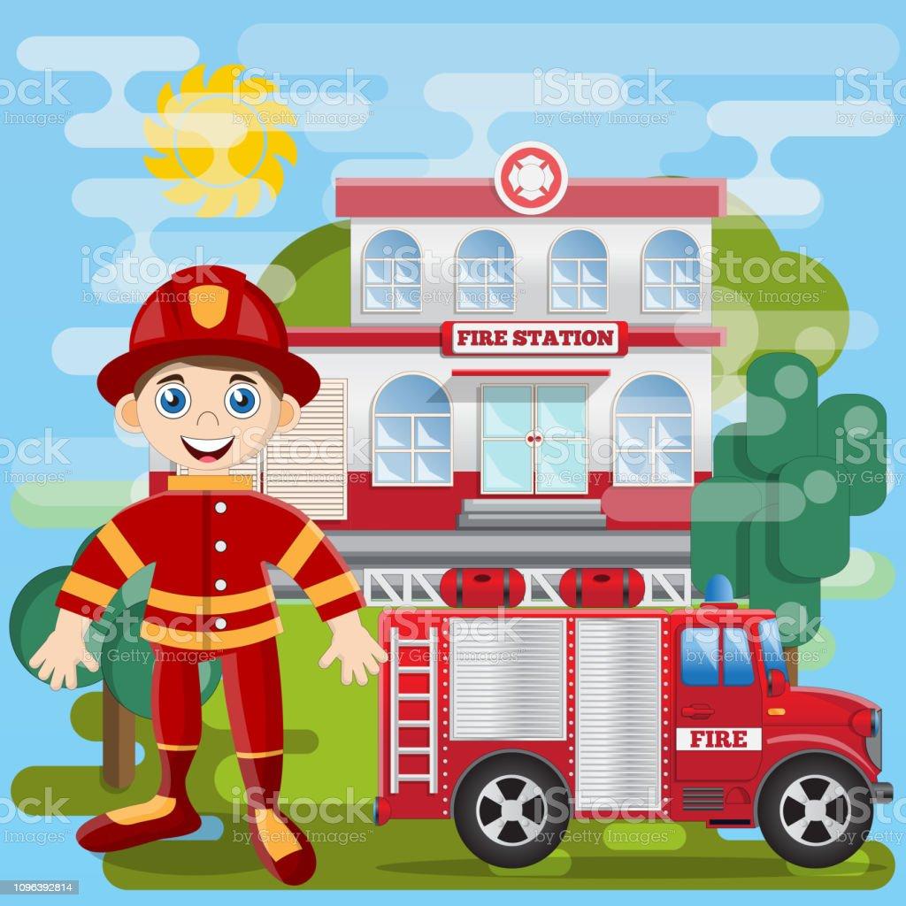 Firemanen Face De La Caserne De Pompiers Vecteurs libres de droits et plus  d'images vectorielles de Adulte - iStock