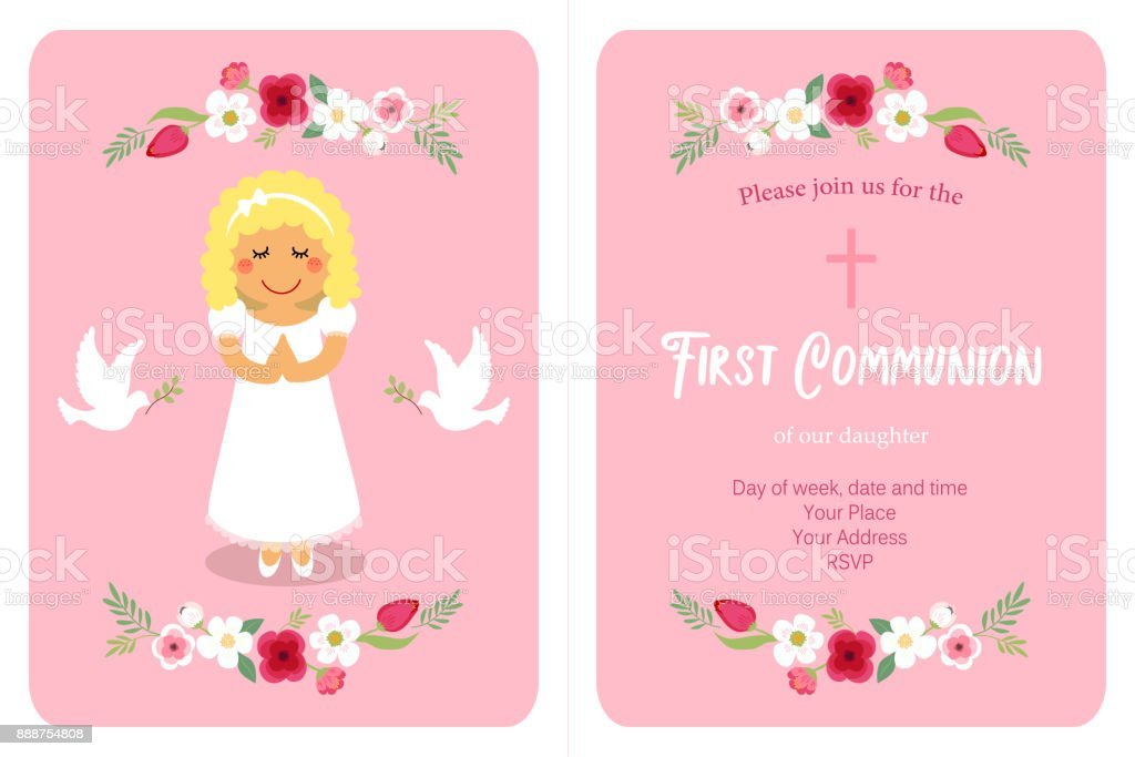Cute First Communion card for girls vector art illustration