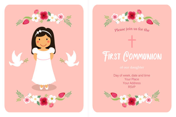 cute first communion card for girls - communion stock illustrations, clip art, cartoons, & icons