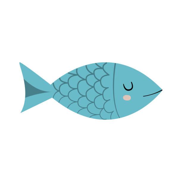 ilustrações de stock, clip art, desenhos animados e ícones de cute fish character. cartoon vector illustration - peixe