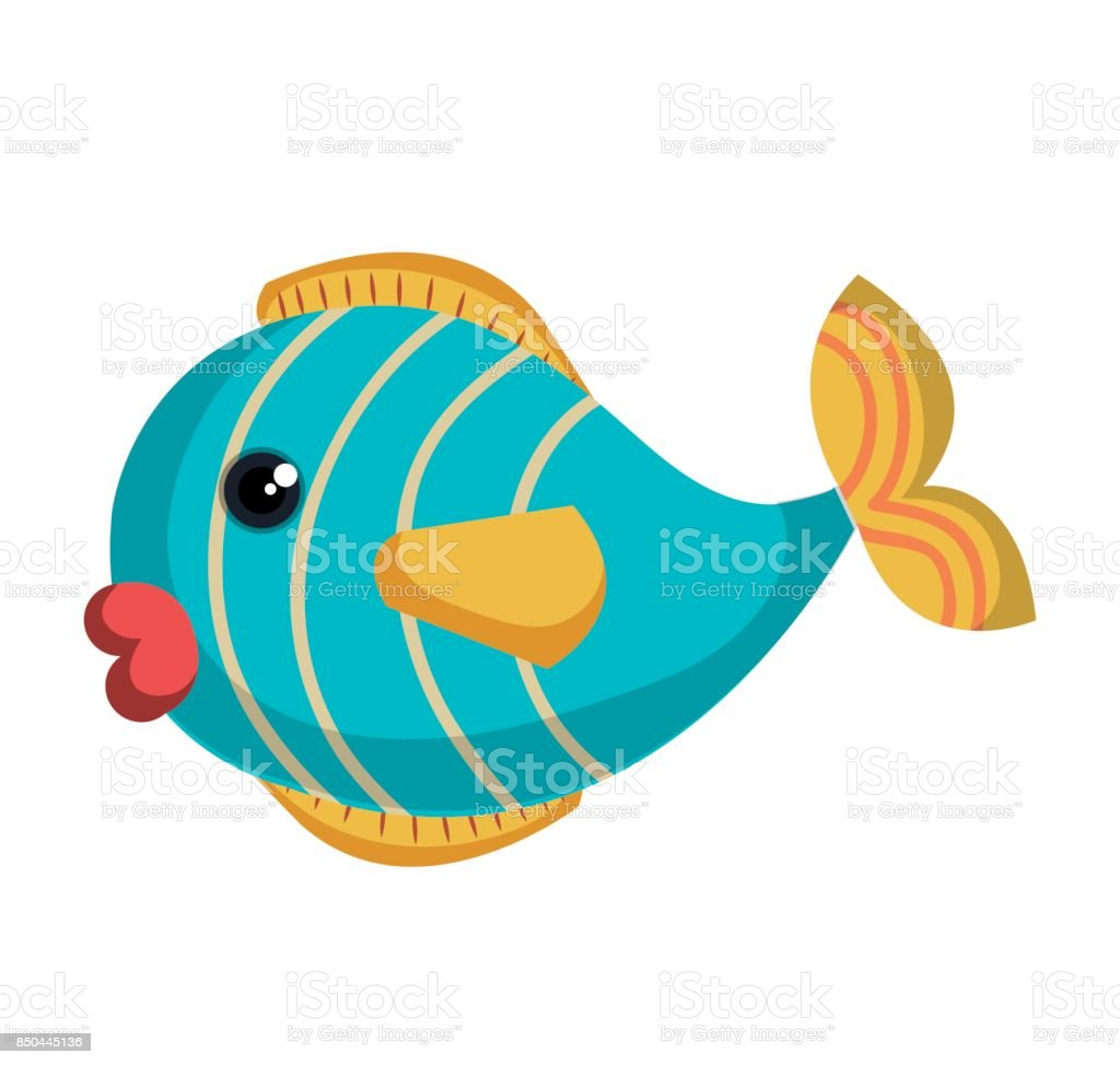 cute fish colors isolated icon vector art illustration