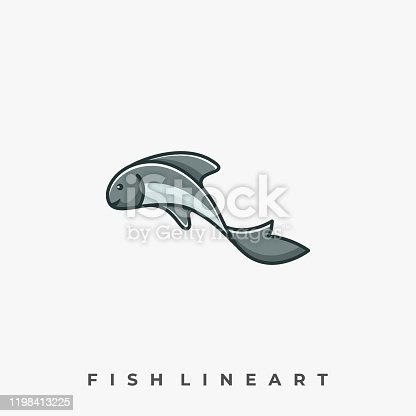 istock Cute Fish Illustration Vector Template 1198413225