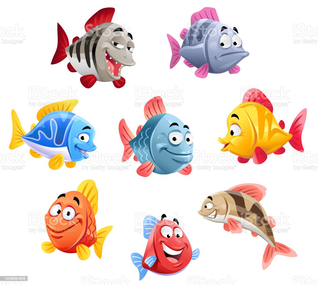 かわいい魚 イラストレーションのベクターアート素材や画像を多数ご