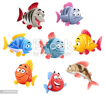A set of eight funny colorful cartoon fish, isolated on white.