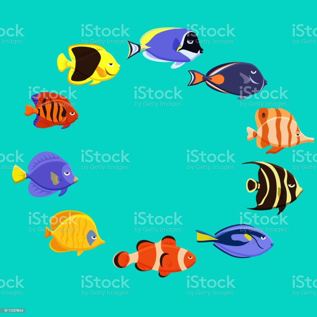 かわいい魚ベクトル イラスト アイコン セット熱帯魚海水魚観賞魚