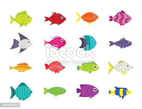 Cute fish vector illustration icons set. Fish flat style vector illustration. Fish icons isolated. Tropical fish, sea fish, aquarium  fish set isolated on white background