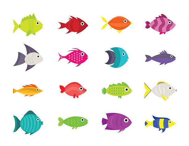 illustrazioni stock, clip art, cartoni animati e icone di tendenza di un pesce illustrazione vettoriale icone set - nuoto mare