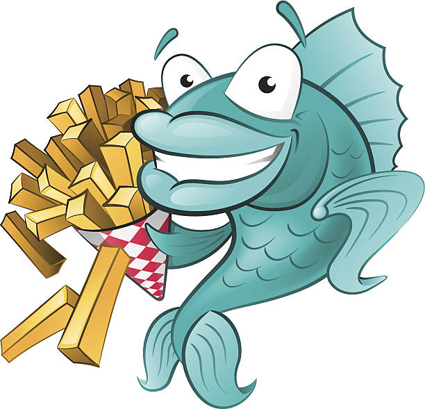 Cute Fish with Portion of Chips vector art illustration