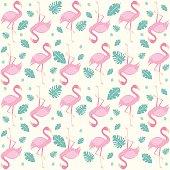 Cute Flamingo And Nature Seamless Pattern Illustration