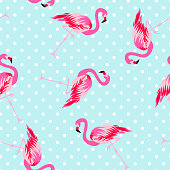 istock Cute flamingo seamless pattern with polka dot background 999700138