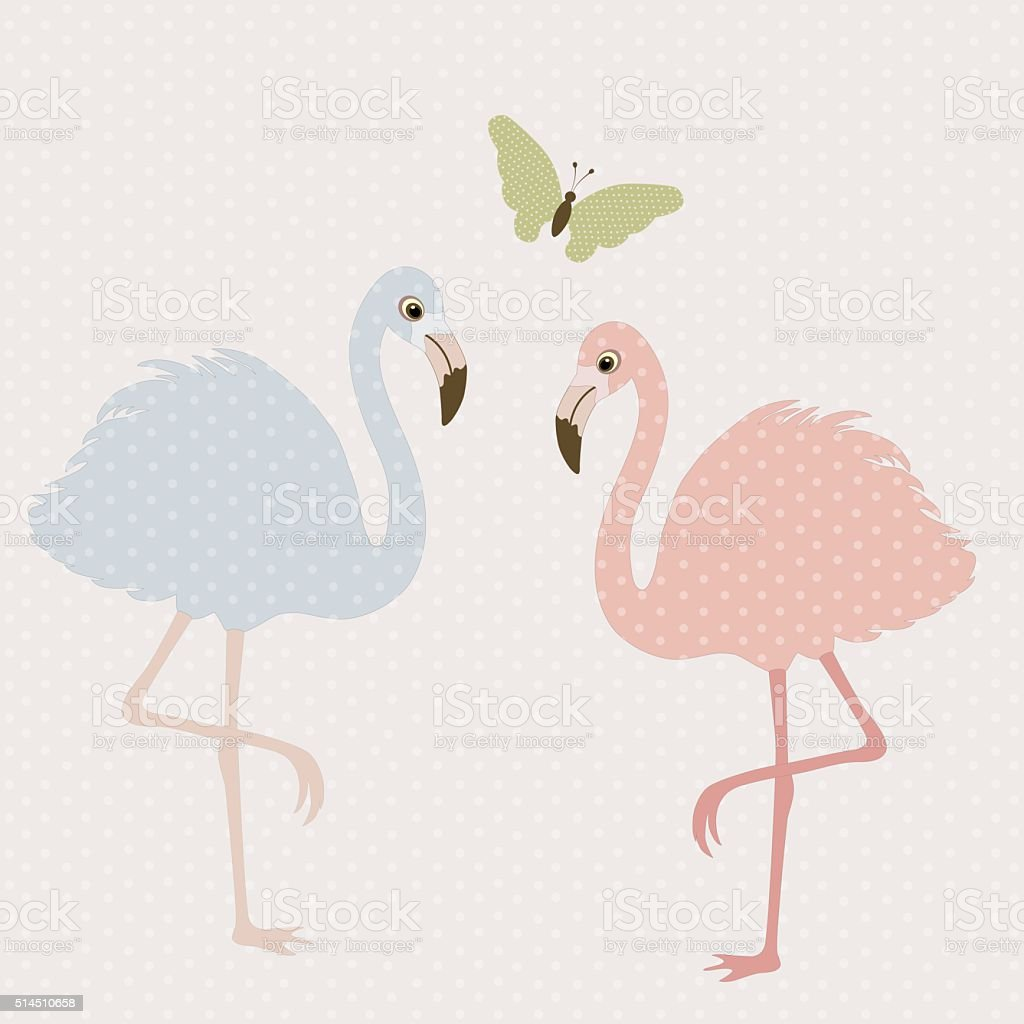 Cute flamingos and butterfly vector art illustration