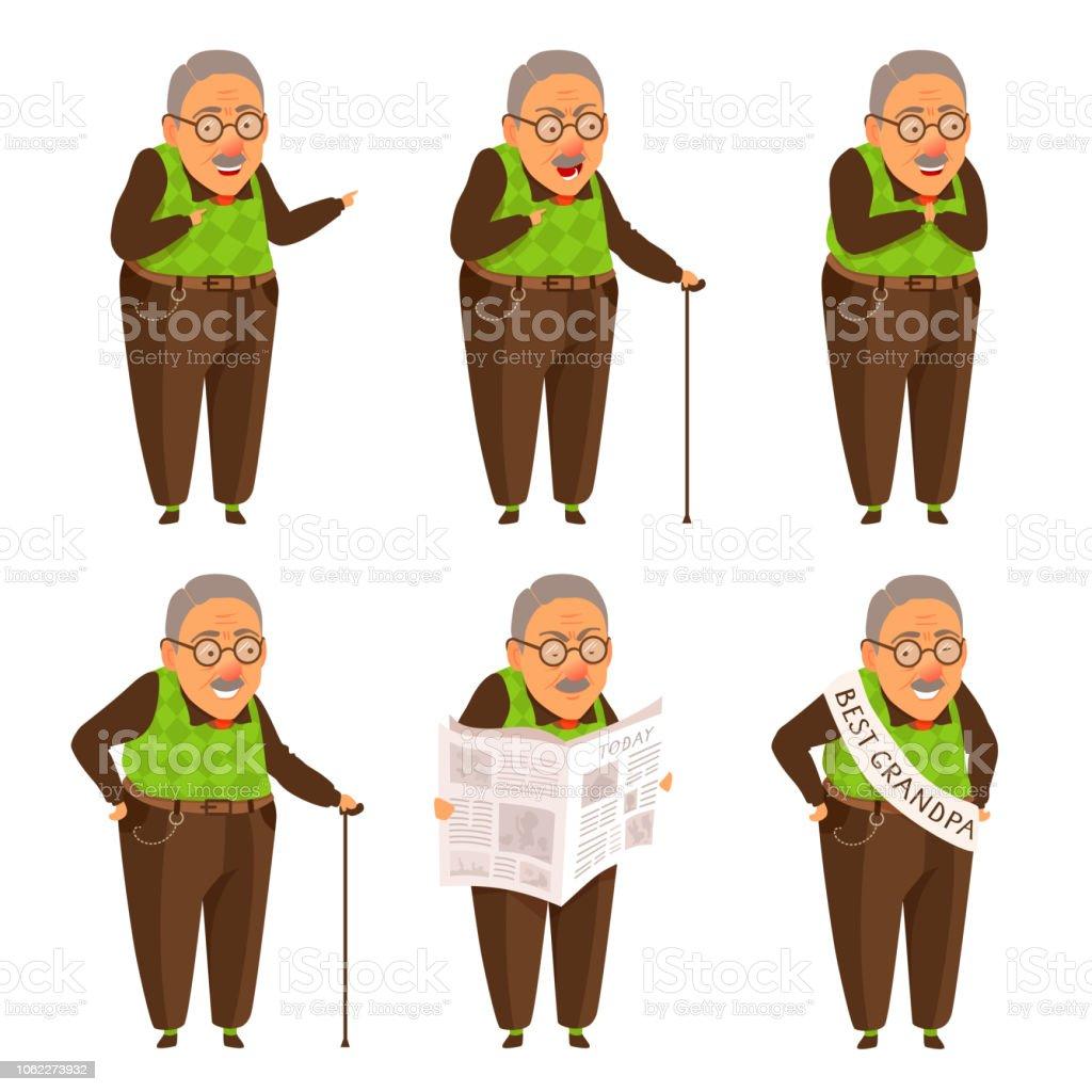 Cute flat cartoon style grandfather illustration set. vector art illustration