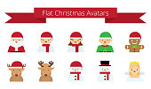 Cute Flat Christmas Cartoon Avatars | Kalaful series