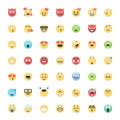 Cute flat color emoticons big collection 2