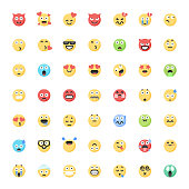 Cute flat color emoticons big collection 2