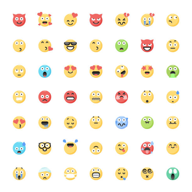 Cute flat color emoticons big collection 2 Vector illustration of a big collectioin of cute and colorful emoticons for design projects and and concepts. displeased stock illustrations