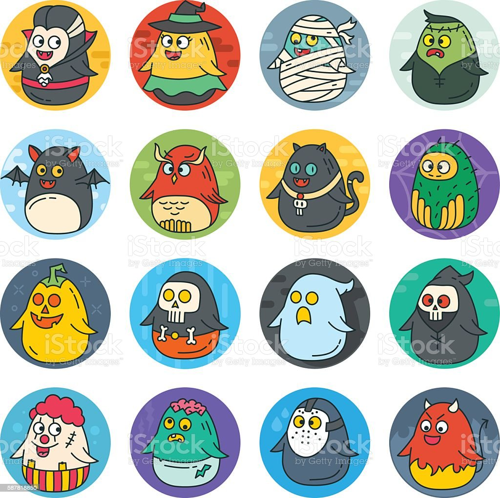 Cute Flat Halloween Characters Vol.2 vector art illustration