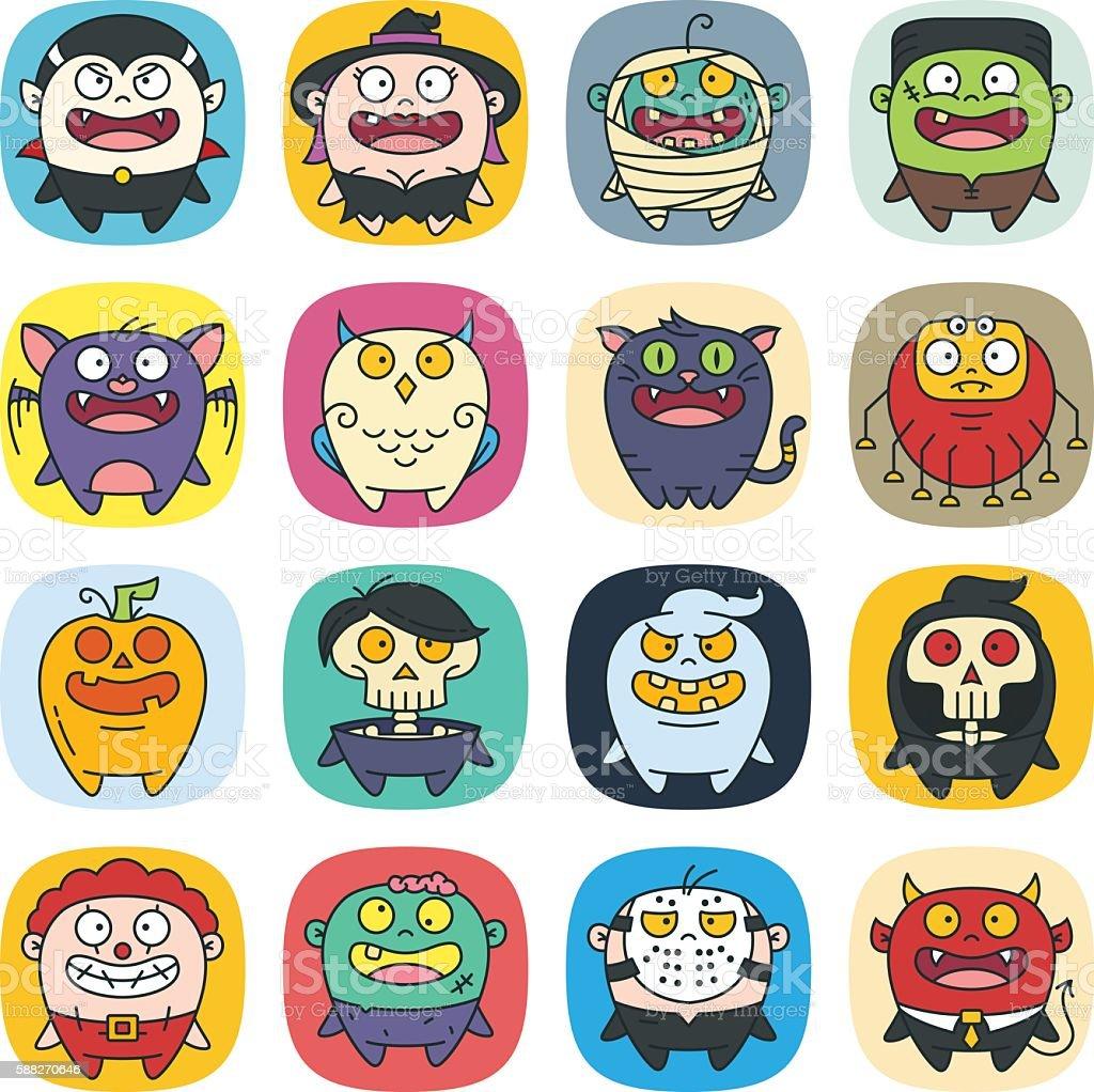 Cute Flat Halloween Characters Vol.3 vector art illustration