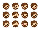 Cute flat male emoticons
