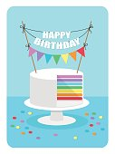 Cute flat style illustration of rainbow cake with festive bunting for your decoration