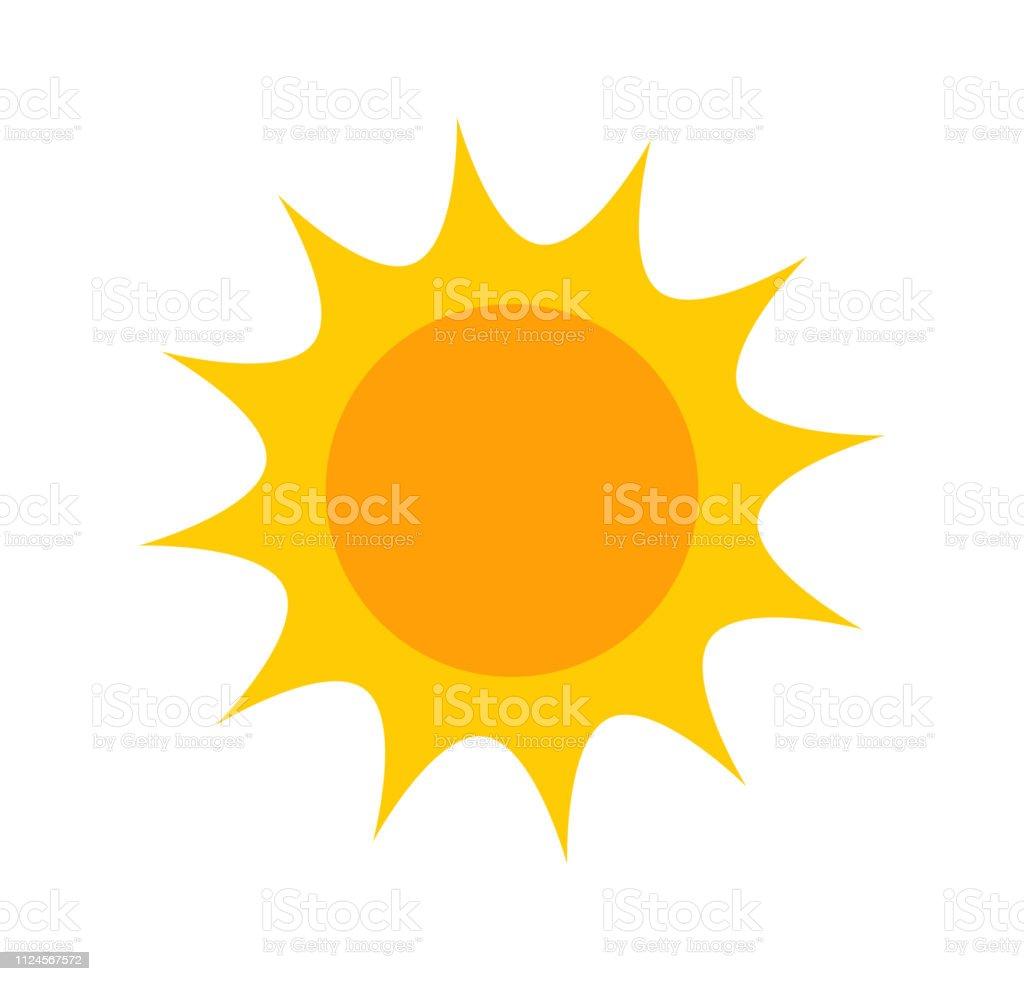 Ícone de bonito sol plana - Vetor de Amarelo royalty-free