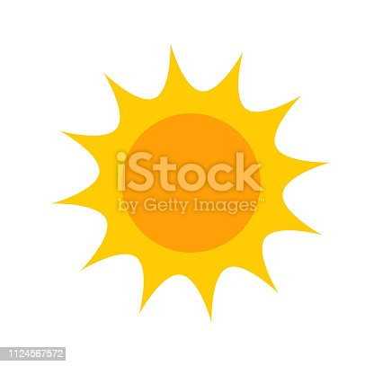 Flat design sun icon. Vector illustration.