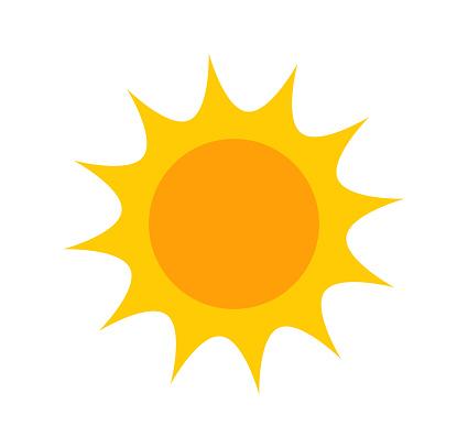 Cute flat sun icon