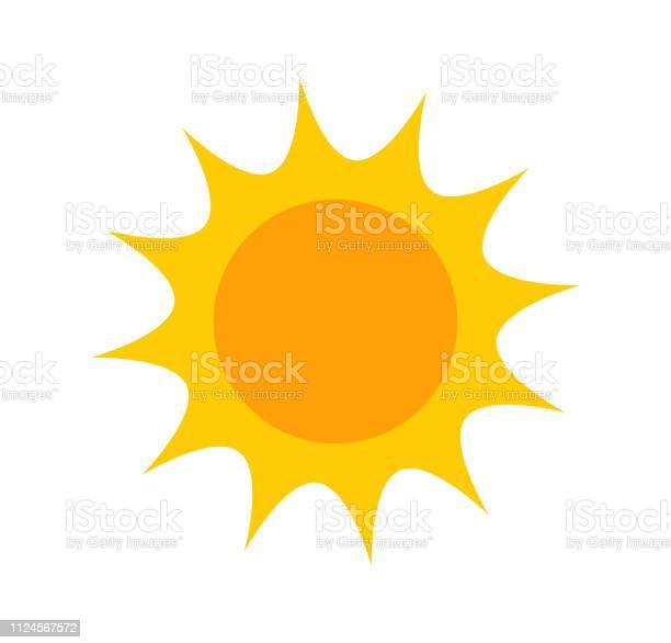 Vetores de Ícone De Bonito Sol Plana e mais imagens de Amarelo