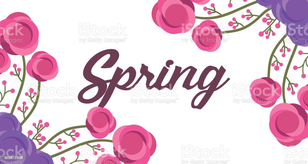 parole printemps mignon bannière floral avec ornement de fleurs delicete - Illustration vectorielle