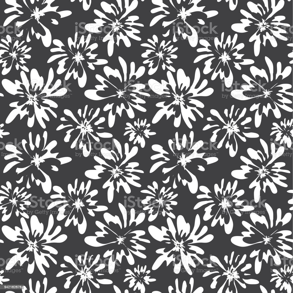 Cute Floral Botanical Ditsy Print Seamless Pattern Hand Drawn
