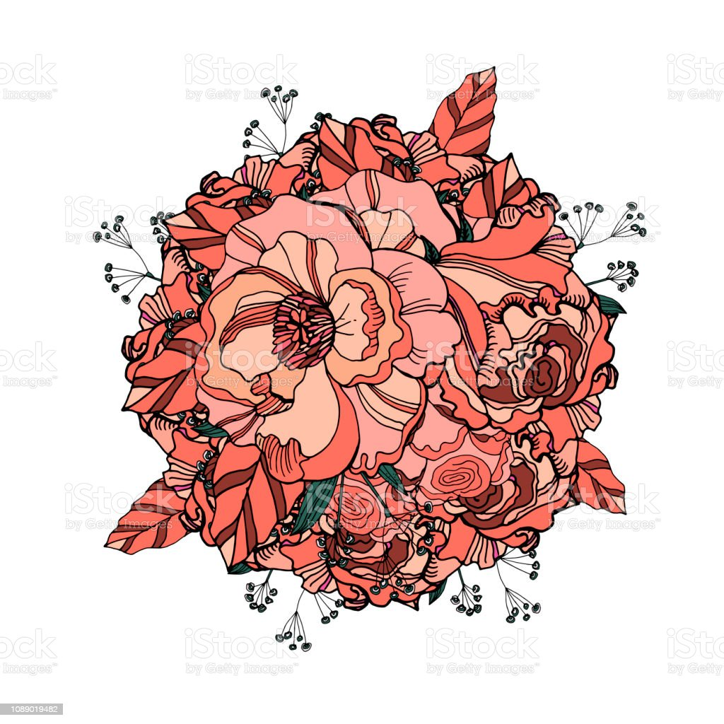 Cute Floral Composition With Coral Roses And Ranunculus Delicate