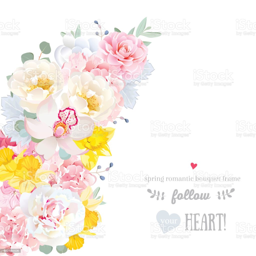 Cute Floral Crescent Shape Vector Frame With Spring Flowers Stock