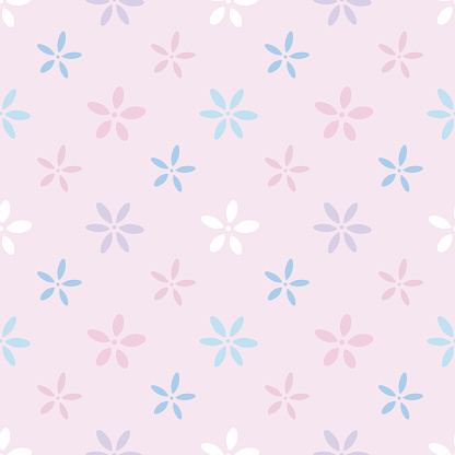 Cute floral pattern, delicate vector flower background.