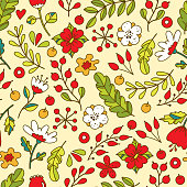 Cute floral pattern of bright flowers in lovely style. Vector backdrop. Summer template. Use for wallpaper,pattern fills, web page background