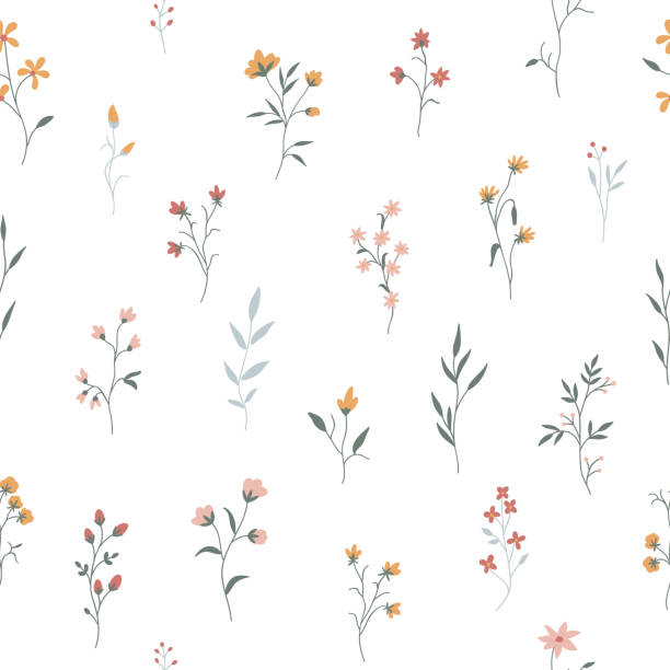 Cute floral pattern. Seamless background Seamless pattern with cute flowers and plants on a transparent background. Vector illustration for wallpapers, cards or fabric. fragility stock illustrations