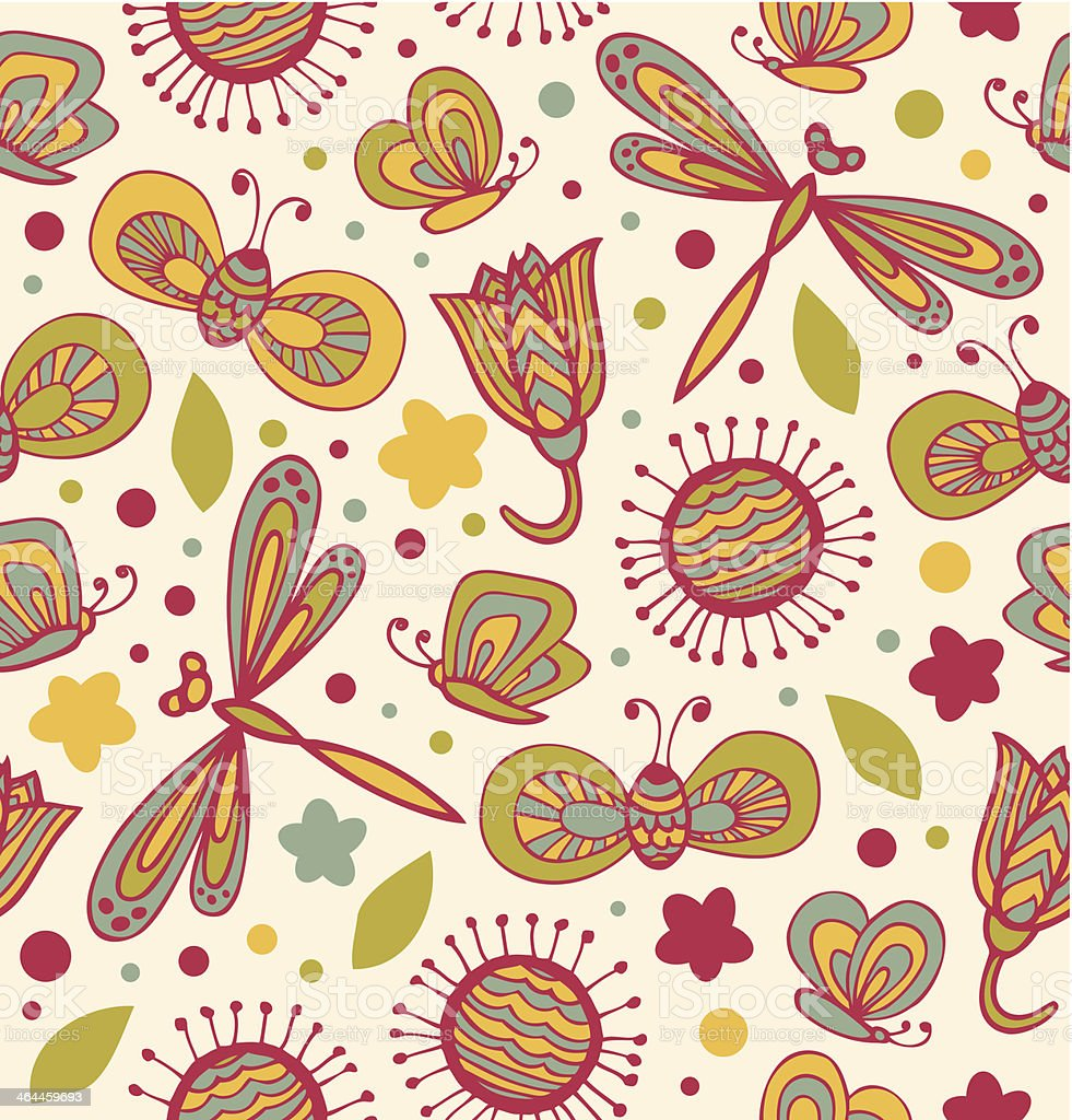Cute floral pattern with flowers, dragonflies and butterflies royalty-free stock vector art