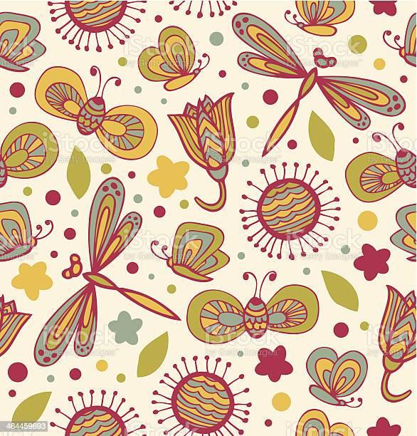 Cute floral pattern with flowers dragonflies and butterflies vector id464459693?b=1&k=6&m=464459693&s=612x612&h=t2fhzmoc0t7ry u1jtqv5ncy8wsqjjdxllyxy2q5efm=