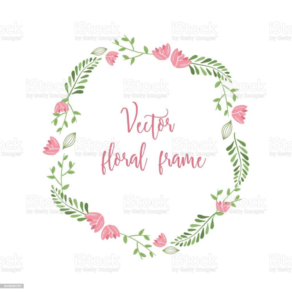 Ilustración de Marco Lindo Floral Vector Redondo Con Pequeñas Flores ...