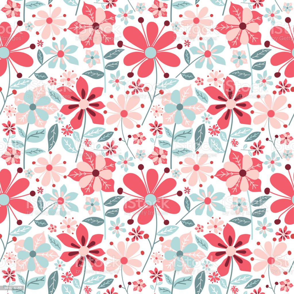 Cute Floral Seamless Background With Simple Vintage Flowers Vector