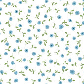 Cute floral seamless pattern. Repeated small blue flowers and green leaves on white background. Vector illustration.