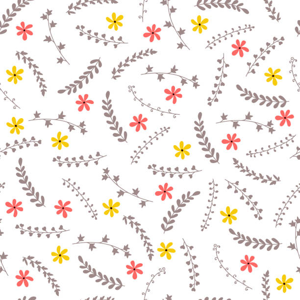cute floral seamless pattern with flowers and branches. elegant template for fashion prints. spring background with decorative elements - spring fashion stock illustrations, clip art, cartoons, & icons